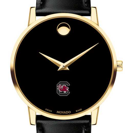 615789014317: Univ of S Carolina Men's Movado Gold Museum Classic Leather