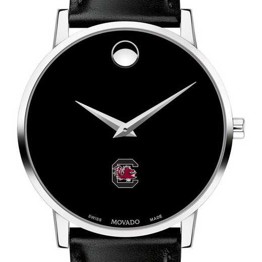 615789612490: Unive of South Carolina Men's Movado Museum w Leather Strap