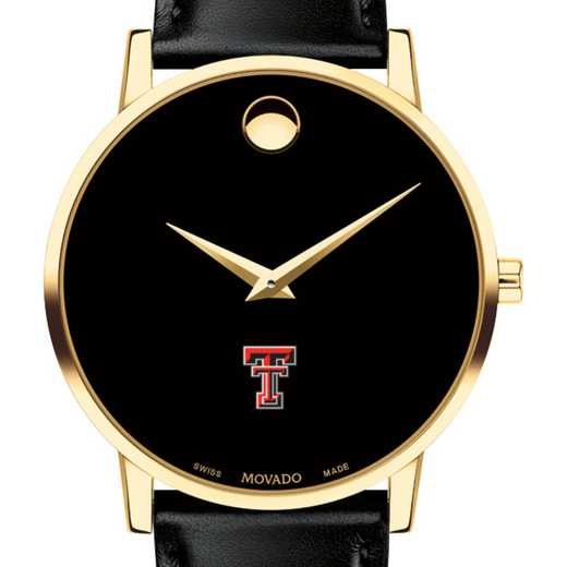 615789986171: Texas Tech Men's Movado Gold Museum Classic Leather