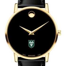 615789432234: Tulane Univ Men's Movado Gold Museum Classic Leather