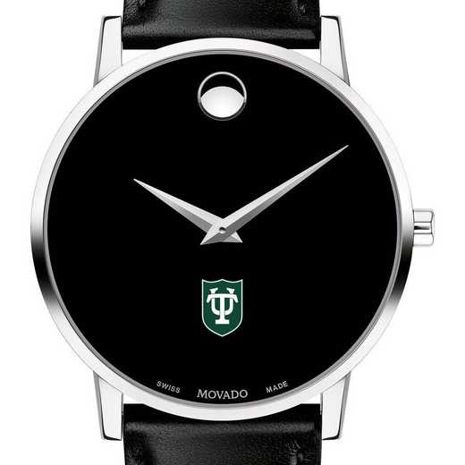 615789709916: Tulane Univ Men's Movado Museum with Leather Strap