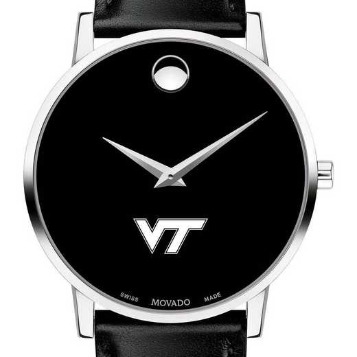 615789237792: Virginia Tech Men's Movado Museum with Leather Strap