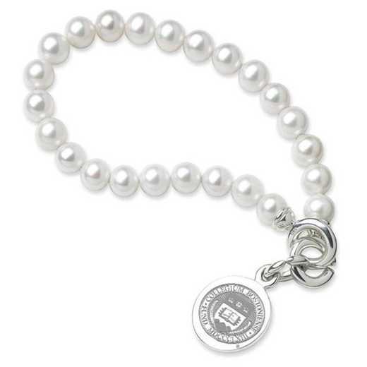 615789964421: Boston College Pearl Bracelet W/ SS Charm