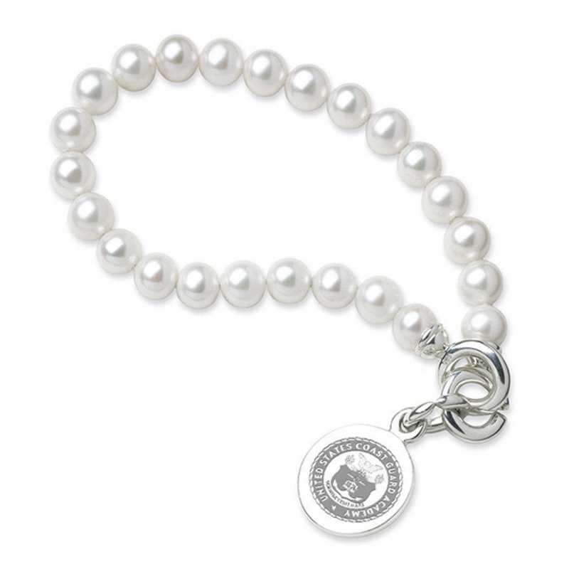 615789582557: Coast Guard Academy Pearl Bracelet W/ SS Charm