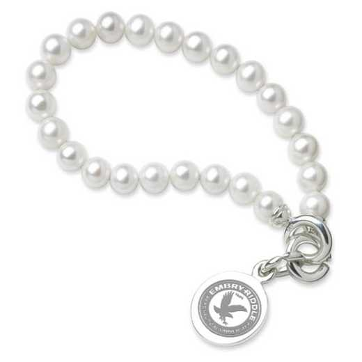 615789487098: Embry-Riddle Pearl Bracelet W/ SS Charm