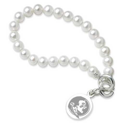 615789217886: Florida ST Pearl Bracelet W/ SS Charm