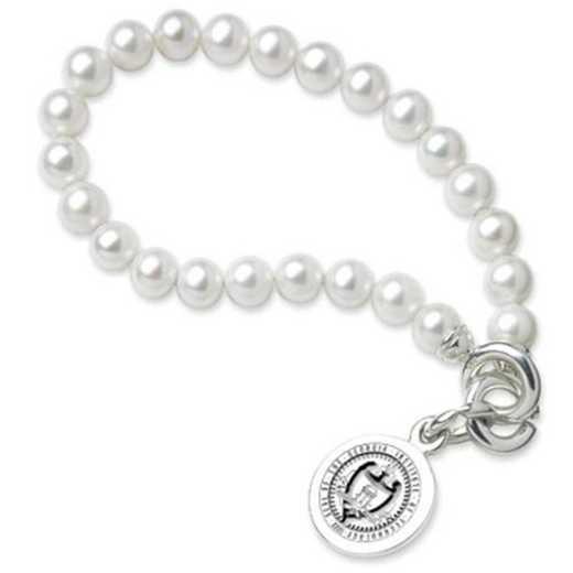 615789249337: Georgia Tech Pearl Bracelet W/ SS Charm