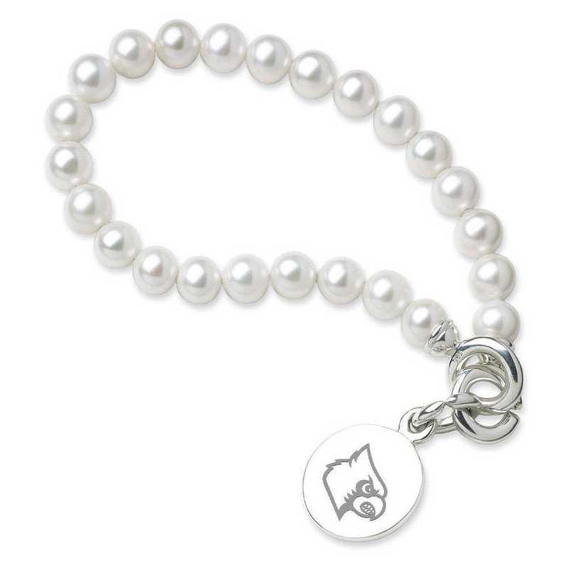 615789019565: UNIV of Louisville Pearl Bracelet W/ SS Charm