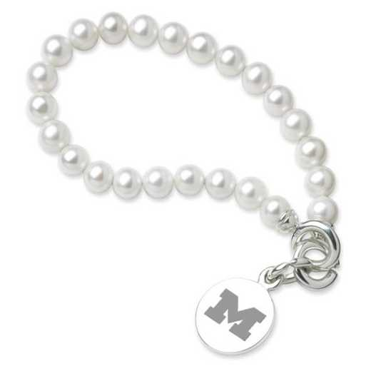 615789552093: Michigan Pearl Bracelet W/ SS Charm