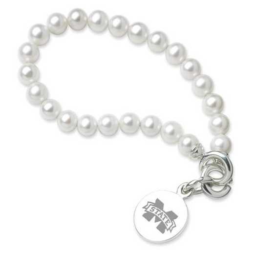615789079866: Mississippi ST Pearl Bracelet W/ SS Charm