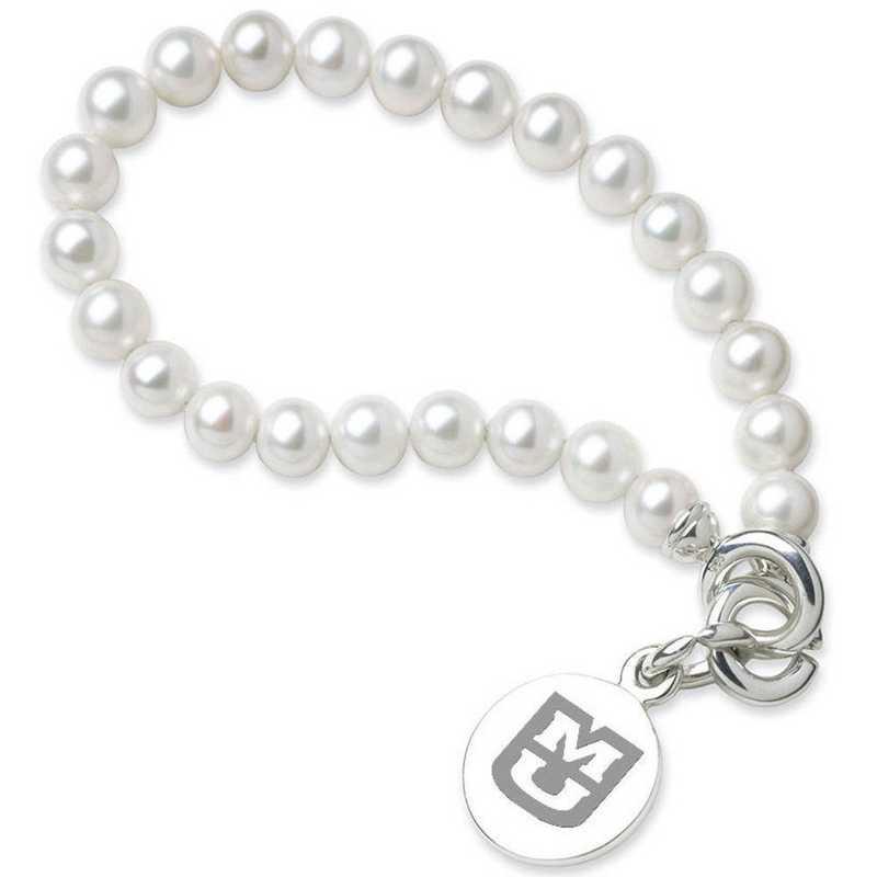615789783138: UNIV of Missouri Pearl Bracelet W/ SS Charm