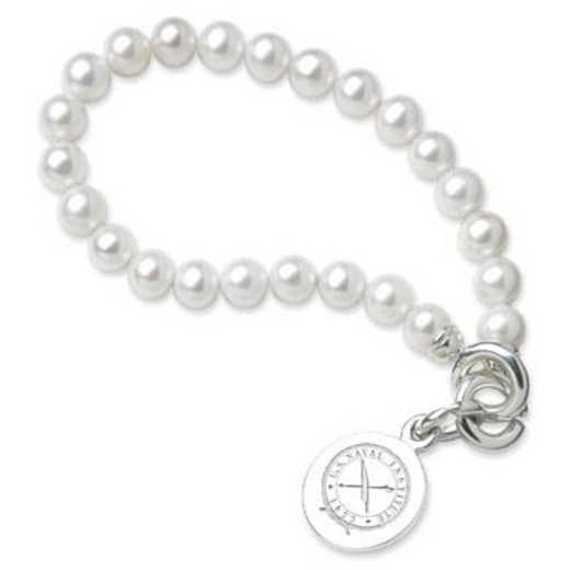 615789275558: USNI Pearl Bracelet W/ SS Charm