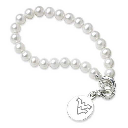 615789714705: West Virginia UNIV Pearl Bracelet W/ SS Charm