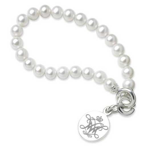 615789541134: William & Mary Pearl Bracelet W/ SS Charm
