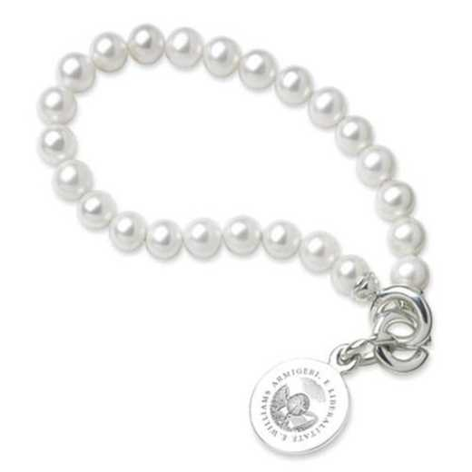 615789089759: Williams College Pearl Bracelet W/ SS Charm