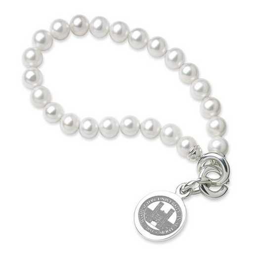 615789488750: WUSTL Pearl Bracelet W/ Sterling Charm