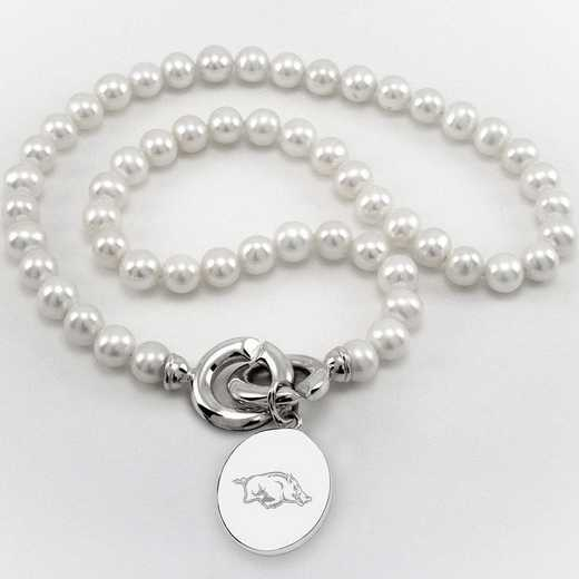 615789701910: UNIV of Arkansas Pearl Necklace W/ SS Charm