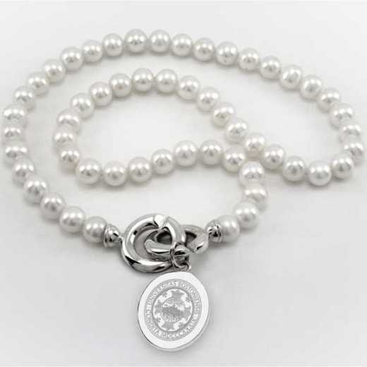 615789248149: Boston UNIV Pearl Necklace W/ SS Charm