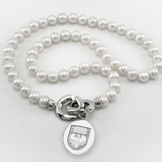 615789384267: Chicago Pearl Necklace W/ SS Charm