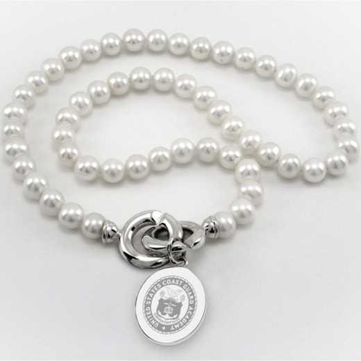 615789476580: Coast Guard Academy Pearl Necklace W/ SS Charm