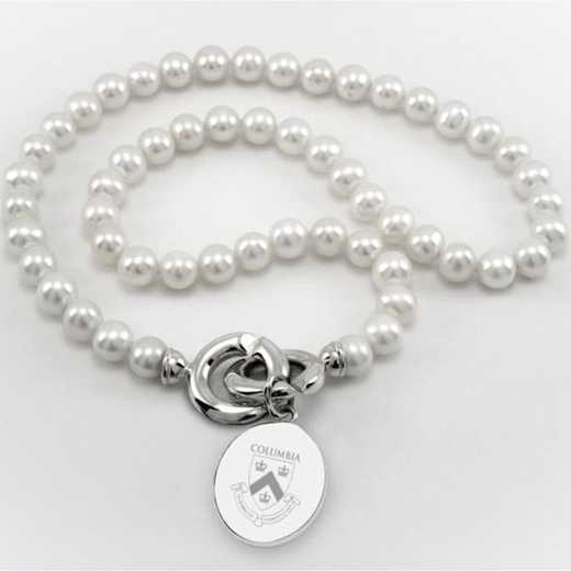 615789804239: Columbia Pearl Necklace W/ SS Charm