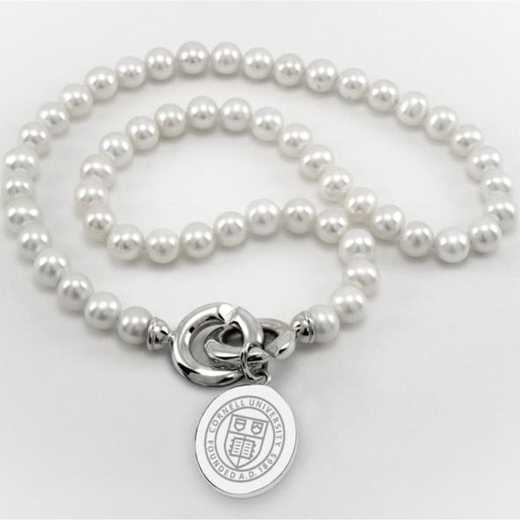 615789335696: Cornell Pearl Necklace W/ SS Charm