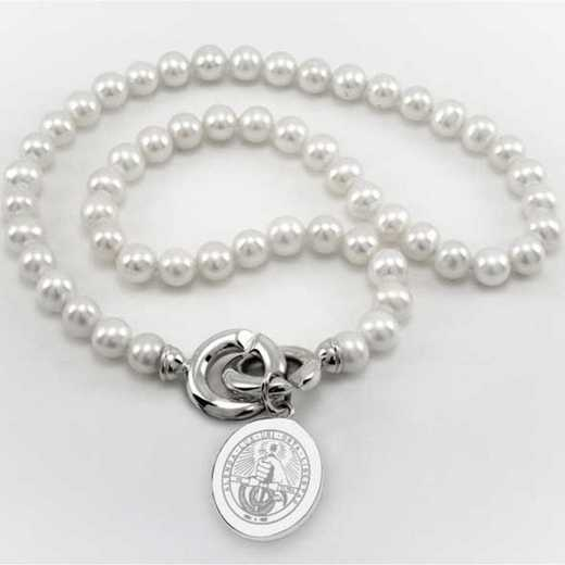 615789012337: Davidson College Pearl Necklace W/ SS Charm