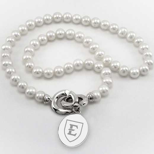615789778165: East Tennessee ST UNIV Pearl Necklace W/ SS Charm