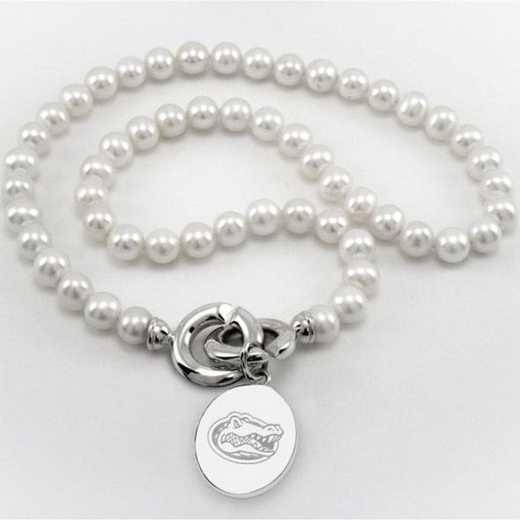 615789429944: Florida Pearl Necklace W/ SS Charm