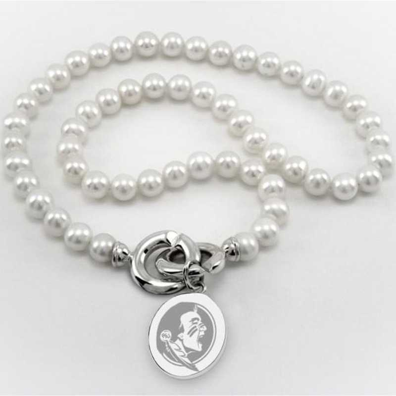 615789086116: Florida ST Pearl Necklace W/ SS Charm