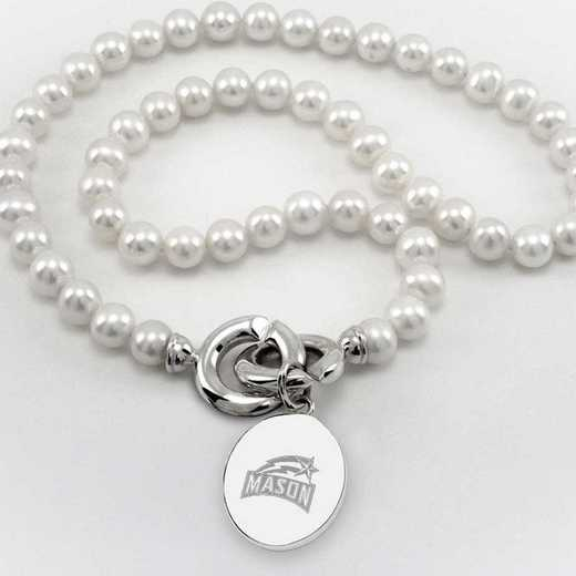 615789128403: George Mason UNIV Pearl Necklace W/ SS Charm