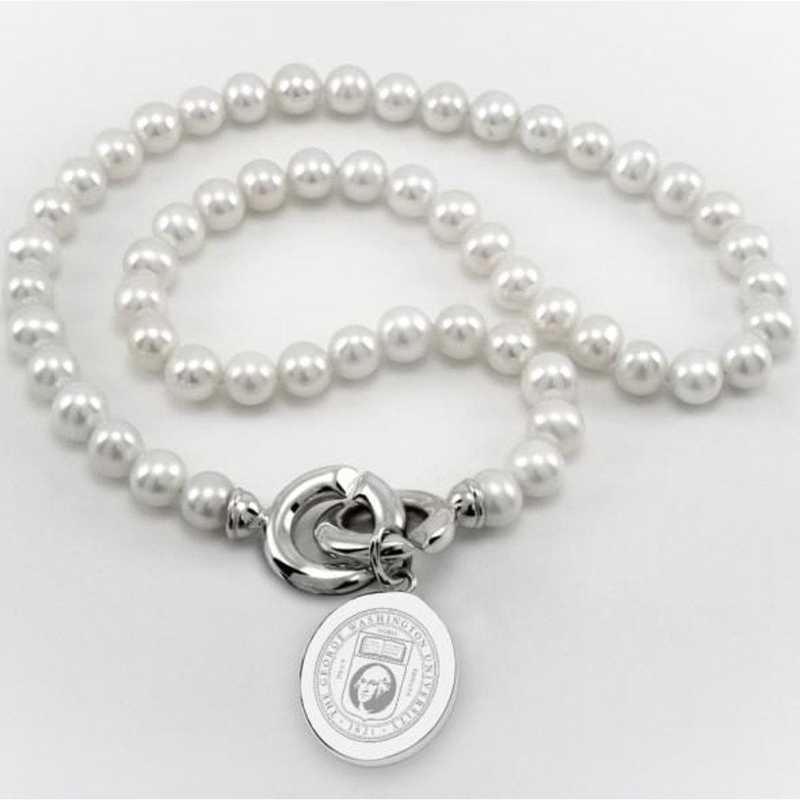 615789021490: George Washington Pearl Necklace W/ SS Charm