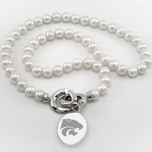 615789815617: Kansas ST UNIV Pearl Necklace W/ SS Charm