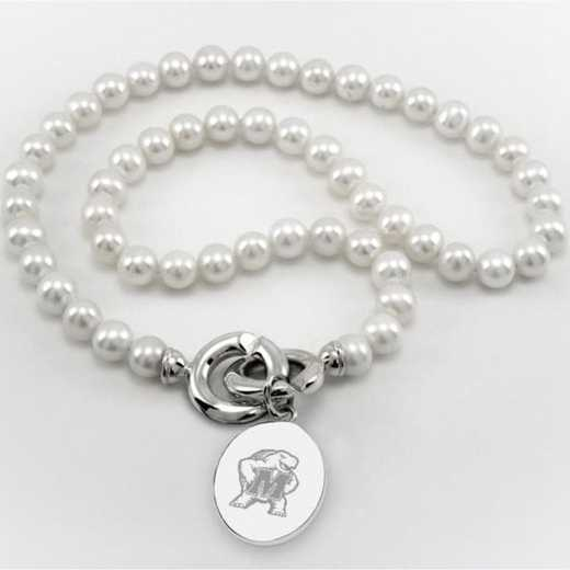 615789351375: Maryland Pearl Necklace W/ SS Charm