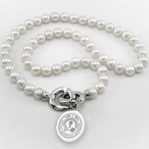 615789069355: Miami UNIV Pearl Necklace W/ SS Charm