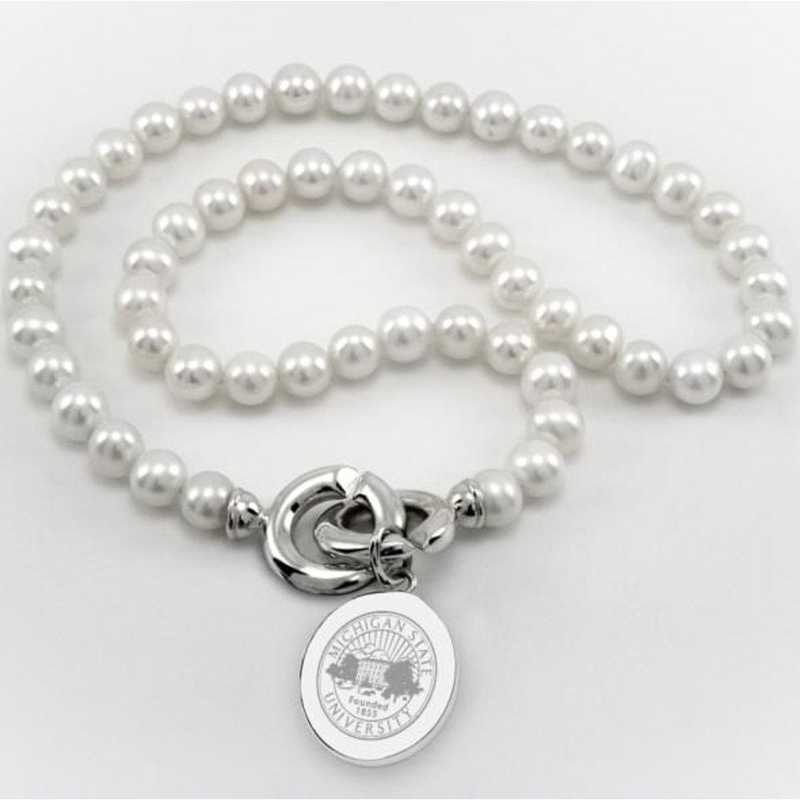 615789229650: Michigan ST Pearl Necklace W/ SS Charm