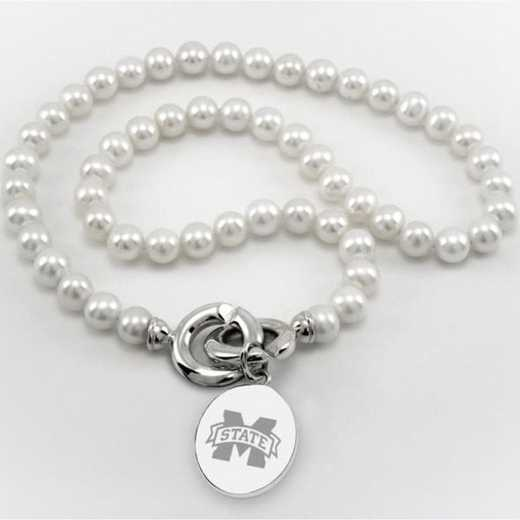 615789495772: Mississippi ST Pearl Necklace W/ SS Charm