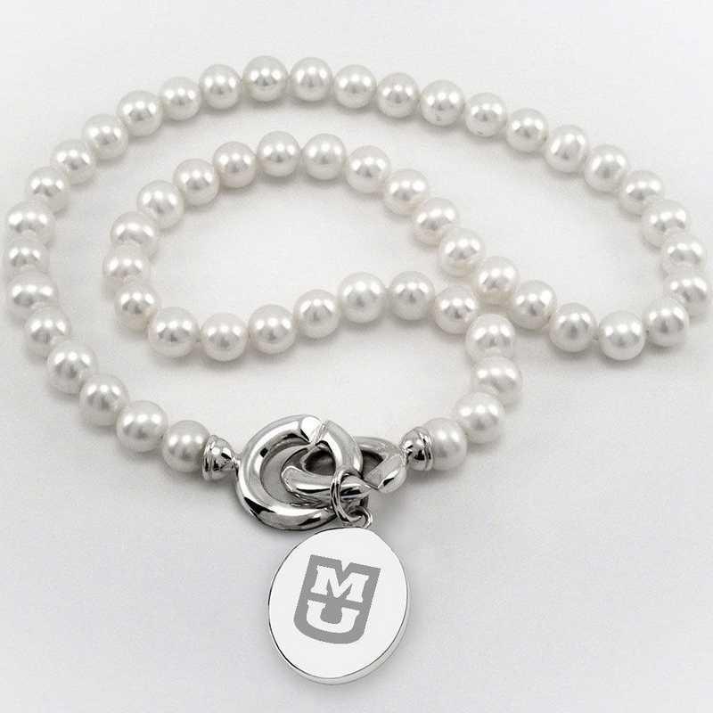 615789477136: UNIV of Missouri Pearl Necklace W/ SS Charm