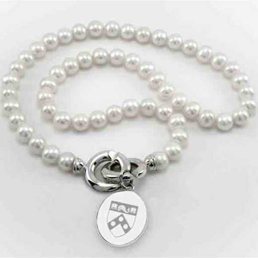 615789462668: Penn Pearl Necklace W/ SS Charm
