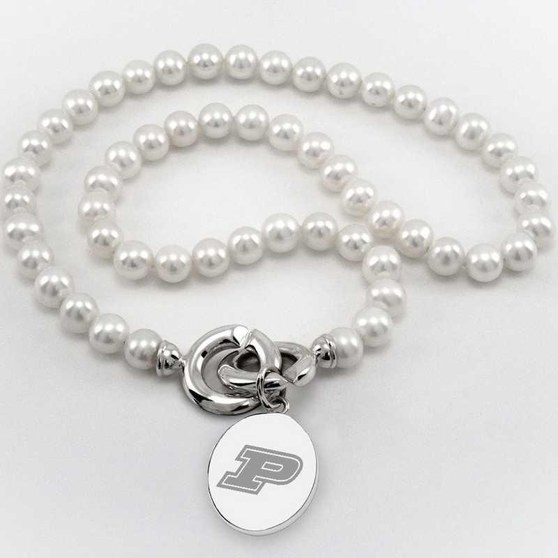 615789376965: Purdue UNIV Pearl Necklace W/ SS Charm