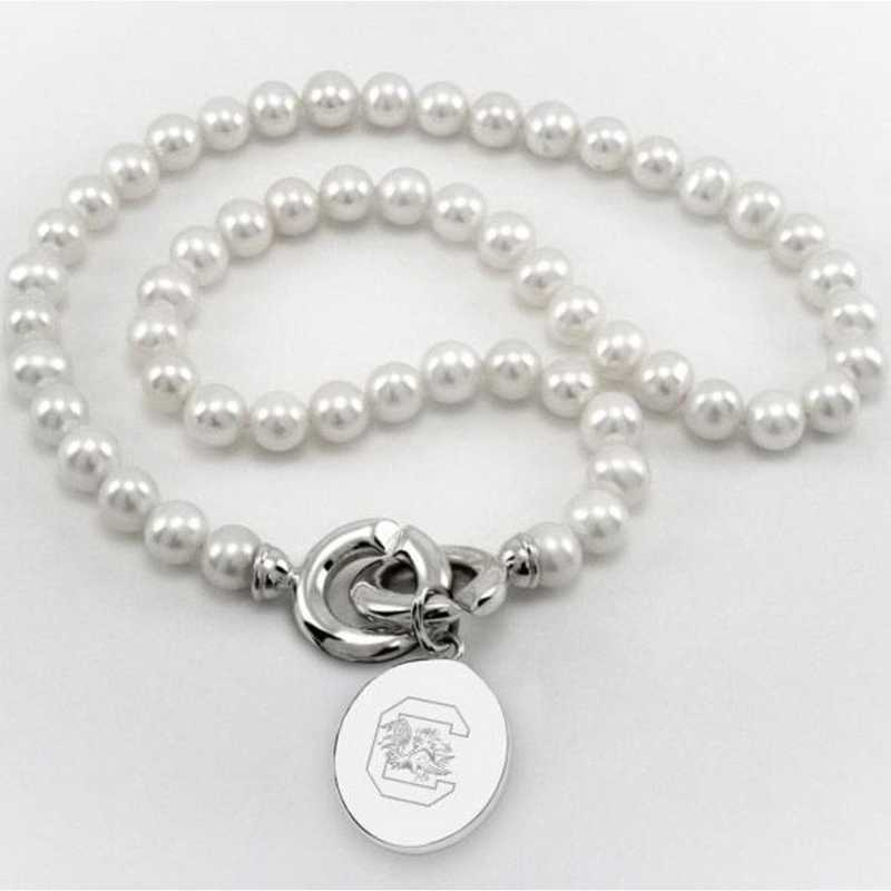 615789585855: South Carolina Pearl Necklace W/ SS Charm