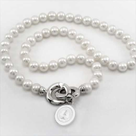 615789901747: Stanford Pearl Necklace W/ SS Charm