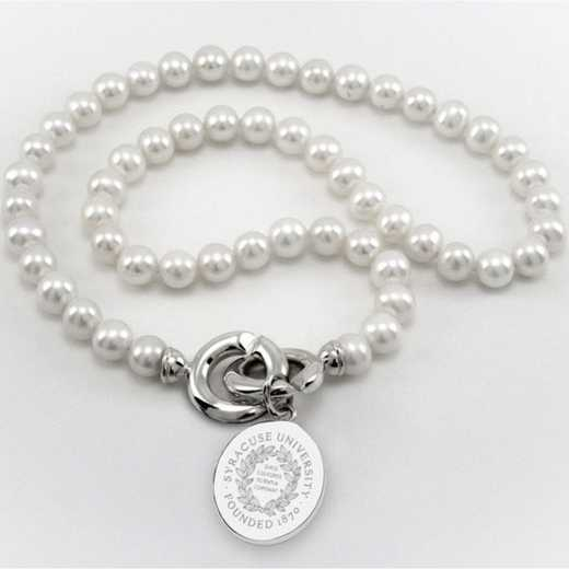615789109983: Syracuse UNIV Pearl Necklace W/ SS Charm