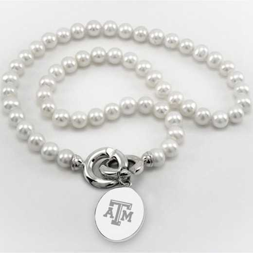 615789738060: Texas A&M Pearl Necklace W/ SS Charm