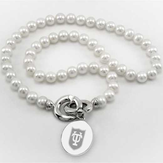 615789896678: Tulane Pearl Necklace W/ SS Charm