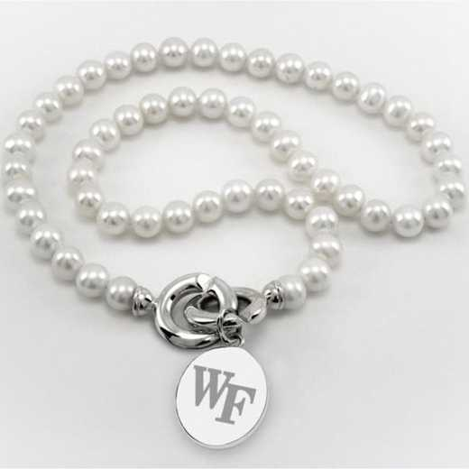 615789297390: Wake Forest Pearl Necklace W/ SS Charm