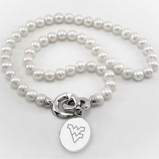615789978909: West Virginia UNIV Pearl Necklace W/ SS Charm