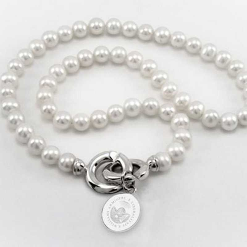 615789247623: Williams College Pearl Necklace W/ SS Charm