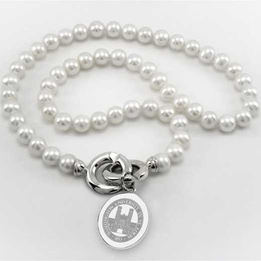 615789797906: WUSTL Pearl Necklace W/ SS Charm