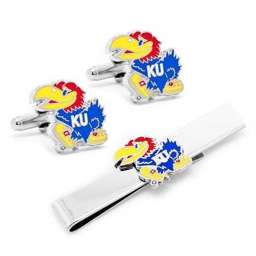 PD-KU-CT: University of Kansas Jayhawks Cufflinks and Tie Bar Gift Set